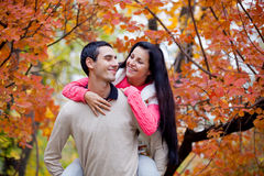 Photo of cute couple hugging on the wonderful yellow trees backg Royalty Free Stock Photo
