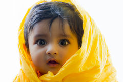 Photo of cute and happy indian baby boy with expressive eyes. Photo of pretty and happy Indian baby boy with expressive eyes and photogenic face expressing Royalty Free Stock Photos