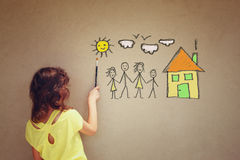 Photo of cute kid imagine a happy family. set of infographics over textured wall background
