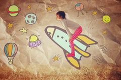 Photo of cute kid imagine spachip flight. image withe set of infographics over paper background Stock Images