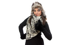 Photo of cute woman in fur mittens Royalty Free Stock Photo