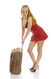 Photo of the cute woman with suitcase. Stock Photo