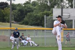 Photo d'action de jeu de baseball image stock