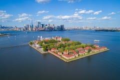 Photo d'antenne d'Ellis Island image stock