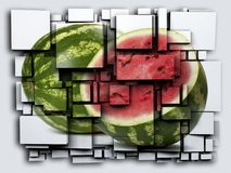 Photo 3D cubes effect watermelon. 3D rendering. Photo 3D cubes effect watermelon. nn Royalty Free Stock Photos