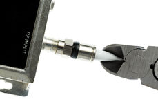 Photo d'isolement par concept de corde de câble de coupe Photo libre de droits