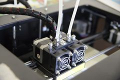 Photo of 3d printer, 3d print, theme of electronic innovation stock photo