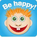 Photo d'un garçon rouge heureux Photographie stock