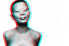 Photo d'un modèle de jeune fille avec un regard africain Photographie stock libre de droits