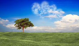 Photo d'un nuage de coeur sur le ciel bleu Photos libres de droits