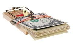 Photo d'un piège de souris avec l'argent comme amorce, concept Photo stock