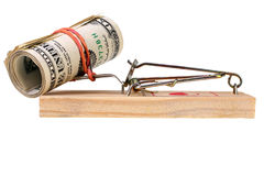 Photo d'un piège de souris avec l'argent comme amorce, concept Photos stock
