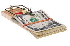 Photo d'un piège de souris avec l'argent comme amorce, concept Images stock