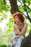 Photo d'une belle femme ou fille rousse s'asseyant dans l'arbre et observant le coucher du soleil soleil photo stock