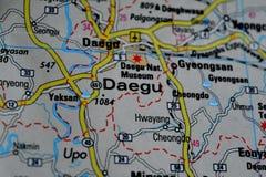 A photo of Daegu, South Korea on a map.  royalty free stock photo