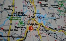 A photo of Daejeon, South Korea on a map.  royalty free stock photos