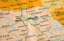 A photo of Dallas on a map stock photos