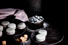 The photo in the dark gray scheme.Grey cake macaron. Macro. Blueberries, which strewed powdered sugar. Royalty Free Stock Photography