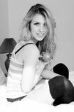 Photo de belle fille blonde sexy dans la lingerie Images libres de droits
