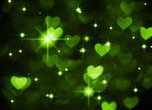 Photo de boke de fond de coeur, couleur vert-foncé Vacances, célébration et contexte abstraits de valentine Image libre de droits