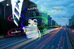 photo de concept du réseau 5G photos libres de droits