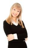 Photo de femme d'affaires heureuse d'isolement sur le blanc Image libre de droits