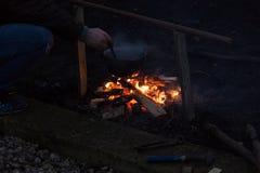 Photo de feu de camp Photos stock
