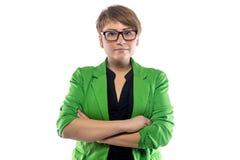 Photo de jeune femme dodue avec des bras croisés Photographie stock