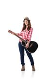 Photo de jeune femme jouant sa guitare photos stock