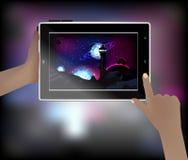 Photo de l'espace dans un téléphone intelligent Images stock