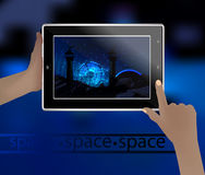 Photo de l'espace dans un téléphone intelligent Photographie stock
