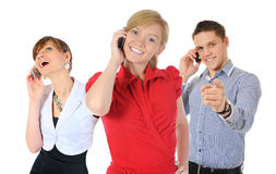 Photo de l'homme et de femme avec des téléphones portables Photo libre de droits