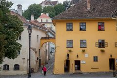 Photo de la maison où Vlad Tepes, aka Vlad Dracul ou Dracula sont allégué nés dans le 14ème, dans le château de Sighisoara image stock