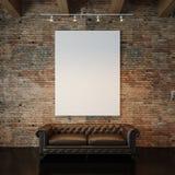 Photo de la toile vide blanche sur la brique naturelle image stock
