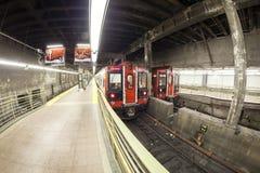 Photo de lentille de Fisheye de train de MTA sur le terminal de Grand Central photos libres de droits