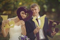 Photo de mariage des jeunes mariés Photo stock