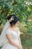 Photo de mode de belle jeune mariée avec les cheveux sombres dans la robe l'épousant élégante et de diadème posant dans la chambr photo libre de droits