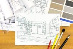 Photo de plan rapproché de bureau de dessinateurs d'intérieurs Photo libre de droits