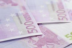 photo de plan rapproché de fond de 500 euro notes Images libres de droits
