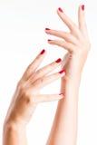 Photo de plan rapproché des mains d'une femelle avec les clous rouges Image libre de droits