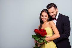Photo de portrait avec l'espace de copie du charme, beau, mignon couple Images stock