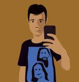 Photo de selfie de visage de bande dessinée Images libres de droits