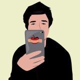 Photo de selfie de visage de bande dessinée Photographie stock libre de droits