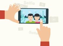 Photo de Selfie sur l'oncept futé de ¡ du téléphone Ð sur le fond blanc jeune illustration stock