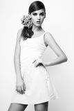 Photo de studio de jeune femme sur le fond blanc Noir et petit morceau Photographie stock libre de droits