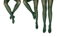 Photo de studio des pattes femelles dans des collants colorés Photos stock