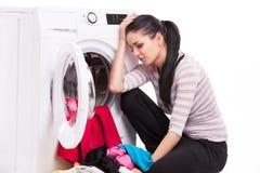 Photo de studio des vêtements de blanchisseurs de femme photo libre de droits