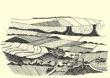 Photo de stylo rurale d'encre de paysage - vecteur Illustration Libre de Droits