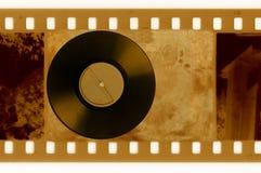 photo de trame de 35mm avec le disque de vinyle de cru Illustration Stock
