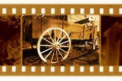 photo de trame de 35mm avec le rétro chariot des Etats-Unis Images stock